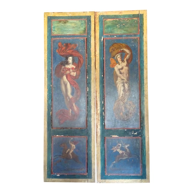 19th Century Italian Painted Wood Panels For Sale