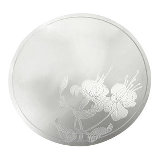 Stately Frameless Circular Mirror with Floral Motif