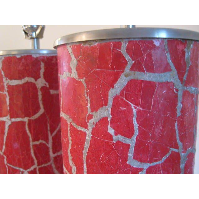 Modern A Pair of Column Lamps by Bouck White In Crackle For Sale - Image 3 of 5