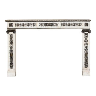 Louis XVl Marble Mantel With Bronze Applique For Sale