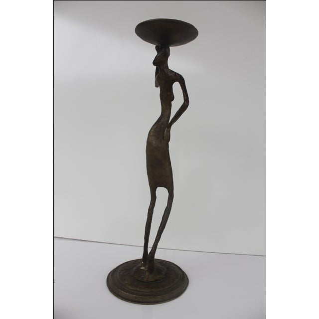 Brutalist Brass Abstract Candleholder - Image 4 of 9
