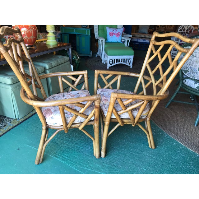 Boho Chic Vintage Chippendale Rattan Chairs-Pair For Sale - Image 3 of 10