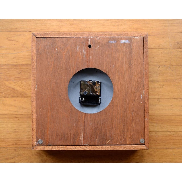 Danish Modern Arthur Umanoff Style Bullnose Oak Clock For Sale - Image 4 of 6