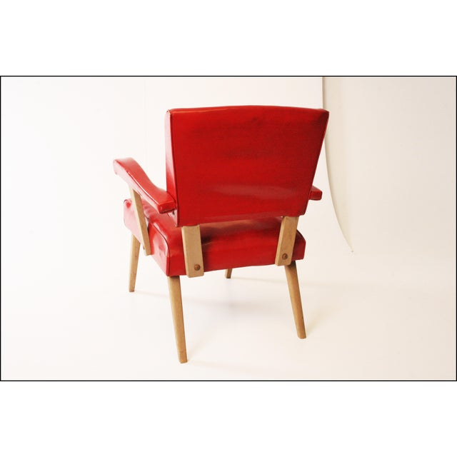 Boho Chic Mid Century Modern Red Viking Artline Slipper Chair For Sale - Image 3 of 11