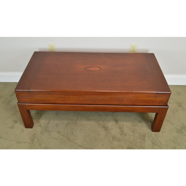 Wood Coffee Table Made From Antique Mahogany Bagatelle Game Box on Recent Wood Frame For Sale - Image 7 of 12