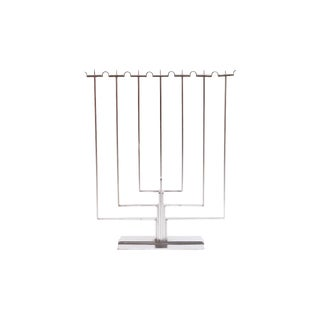Modernist Chrome Menorah For Sale