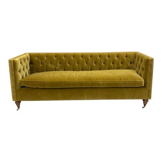 Chartreuse Tufted Sofa For Sale