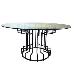 Gear Steel & Glass Dining Table For Sale