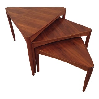 Mid-Century Swedish Modern Dux Teak Triangle Nesting Tables - Set of 3 For Sale