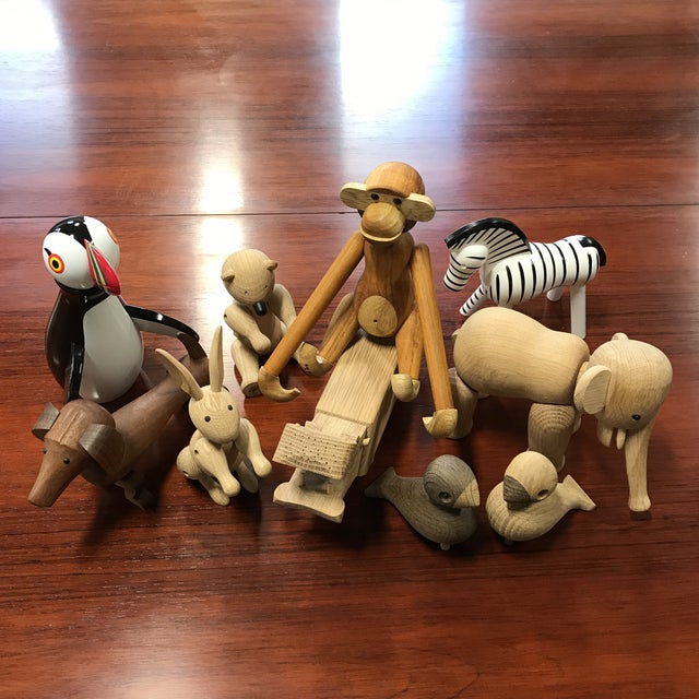 Set Of 10 wooden toys that were designed by Kay Bojesen and were made in Denmark. These beloved figurines have been being...
