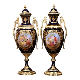 Pair of Mid-20th Century French Blue Royal Porcelain and Bronze Sèvres Urns For Sale