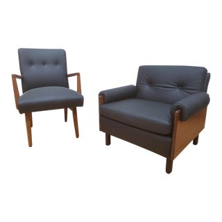 1960s Vintage Danish Modern Black Leather Upholstered Jens Risom Style Armchairs - a Pair For Sale