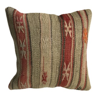 Primitive Decor Handmade Turkish Tribal Striped Kilim Pillow Cover For Sale
