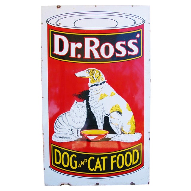 1930s Dr. Ross Dog & Cat Food Advertising Sign - Image 1 of 8