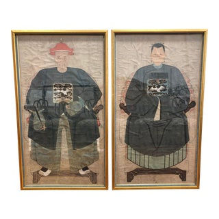 259634633 Antique Hand-Painted Chinese Ancestors - a Pair For Sale