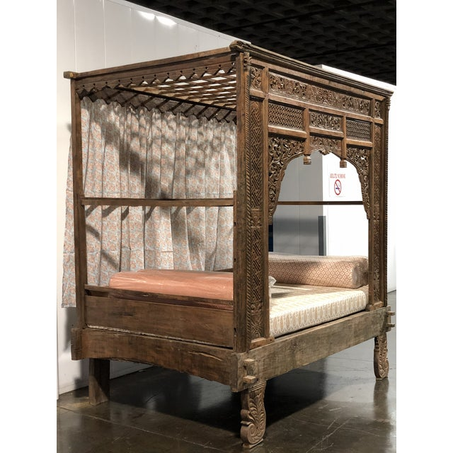 Antique Balinese Boho Chic Canopy bed with foam cushion, back drop and bolsters included covered in Elizabeth Eakins...