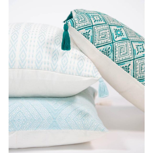 Mexican Serenity Blue Handwoven Pillow - Image 5 of 7