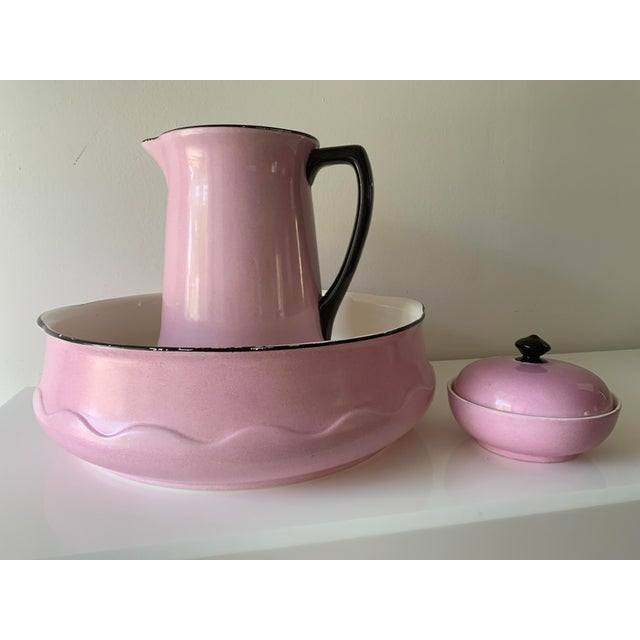Antique, porcelain wash basin, pitcher and soap container by Ludwig Wessel probably from the late 20's or early 30's....