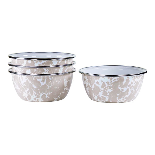 Modern Salad Bowls Taupe Swirl - Set of 4 For Sale - Image 3 of 3