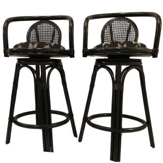 Vintage Mid Century Faux Bamboo Bar Stools- a Pair For Sale