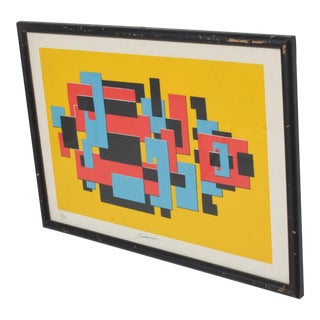 Modern Abstract Lithograph by Mexican Sculptor, Enrique Carbajal, Sebastian 1980s For Sale