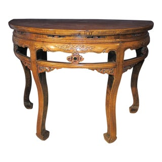 Early 20th Century Antique Chinese Elmwood Demi-Lune Table For Sale