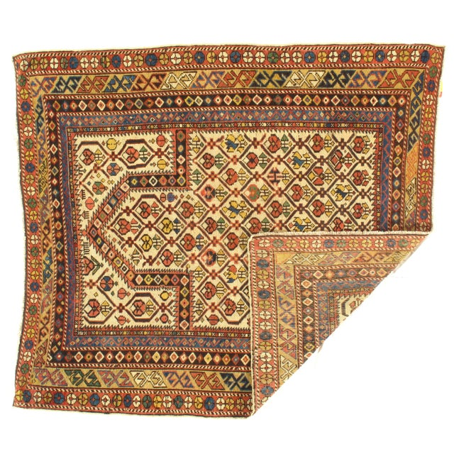 """Late 19th Century Pasargad NY Antique Russian Shirvan Hand-Spun Wool Pile Rug - 3'11"""" x 4'3"""" For Sale - Image 5 of 5"""