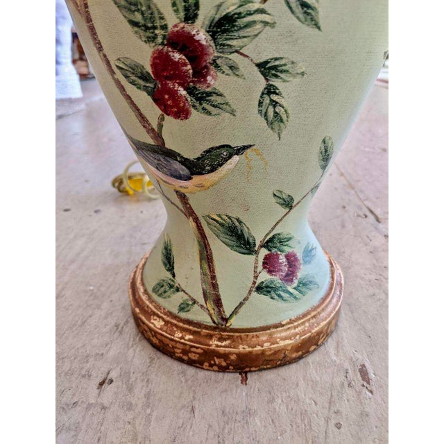 Ceramic Bradburn Celadon Green Table Lamps With Birds and Foliage - a Pair For Sale - Image 7 of 13