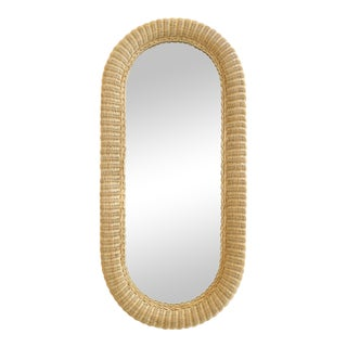 Overscale Vintage Elongated Woven Wicker Wall Mirror For Sale