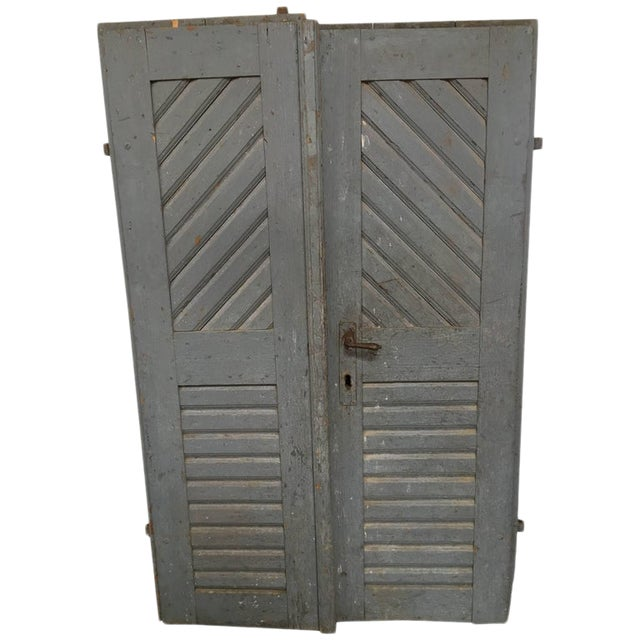 1930's Antique French Painted Farm Doors-a Pair For Sale