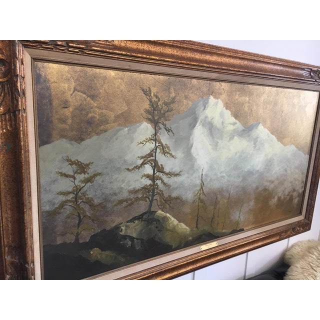Original Gold Leaf on Masonite Painting by Les Parisch - Grand Tetons For Sale - Image 4 of 12