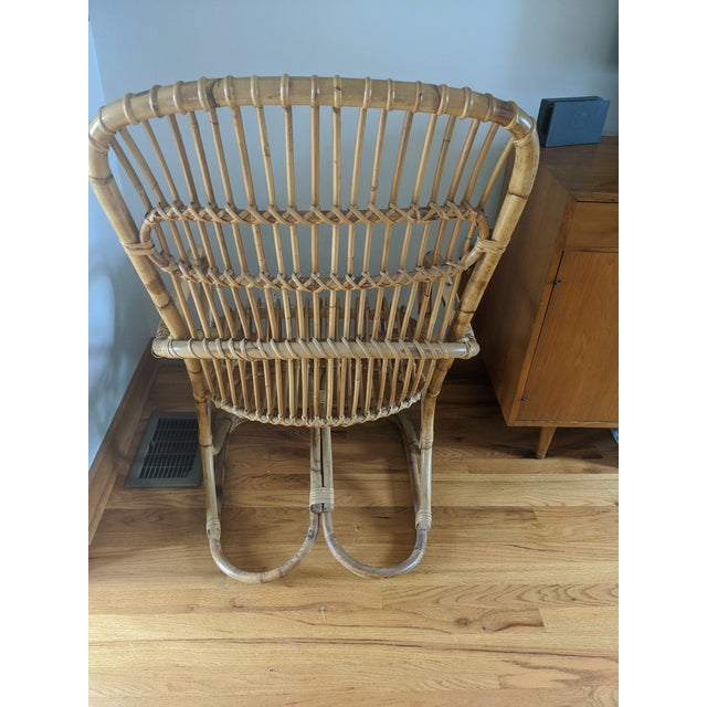 1960s Mid Century Modern Franco Albini Rattan and Wicker Chair and Ottoman For Sale - Image 5 of 7