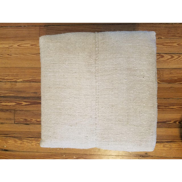 Boho Chic Boho Chic French Linen and Zebra Foot Stool For Sale - Image 3 of 5
