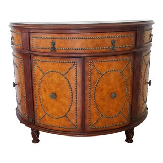 20th Century Drexel Heritage English Tradtional Demi Lune Cabinet For Sale