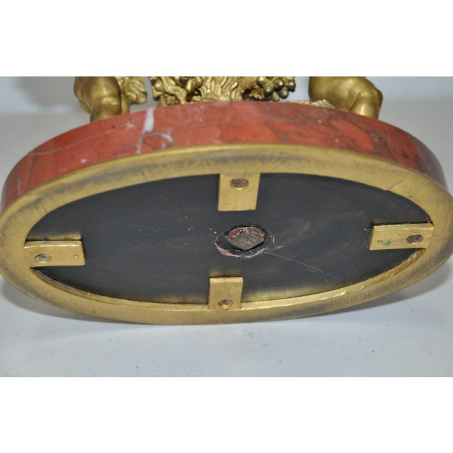 Auguste Moreau Bronze & Marble French Mantle Clock 19th Century For Sale - Image 9 of 10