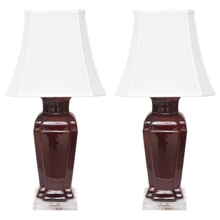 Chinese Double-Vase Ceramic Lamps Sang De Boeuf Glaze Coloration - a Pair For Sale