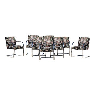 1970s Mid-Century Modern Chrome Cantilever Dining Armchairs - Set of 8