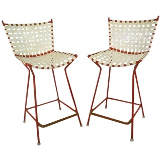 Mid-Century Iron & Vinyl Counter Stools - A Pair For Sale