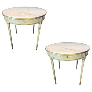 Louis XVI Style Painted Bronze Mounted Marble-Top Bouillotte Center Table, Pair For Sale