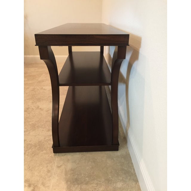 Ethan Allen Mahogany & Zebra Wood Donatella Console Table For Sale In San Francisco - Image 6 of 6