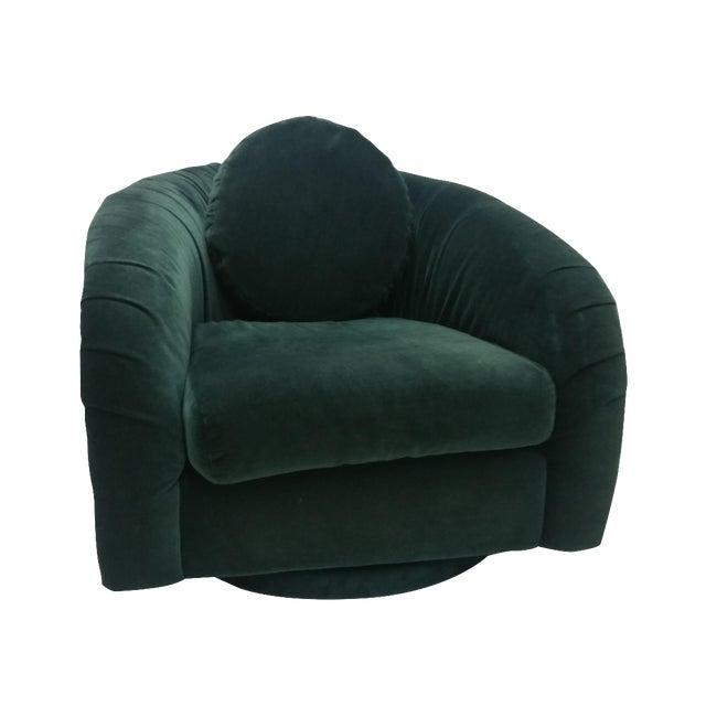 80's Rushed Velvet Swivel Chair - Image 1 of 6