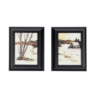 "1950's Vintage ""Country Snow"" Framed Oil Painting by Eleanor- A Pair For Sale"