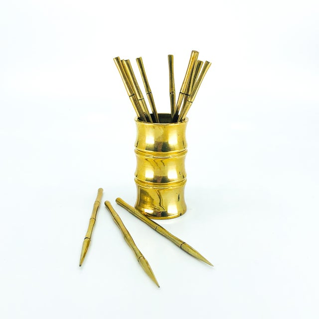 Contemporary Solid Brass Bamboo Party Picks - Set of 13 For Sale - Image 3 of 3