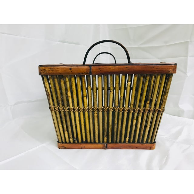 Vintage hand crafted split bamboo basket. This is a good size for toiletries in the guest bathroom; rolled hand towels and...
