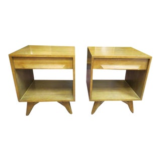 1960s Vintage Mid Century Modern Ash Wood Nightstands-A Pair For Sale