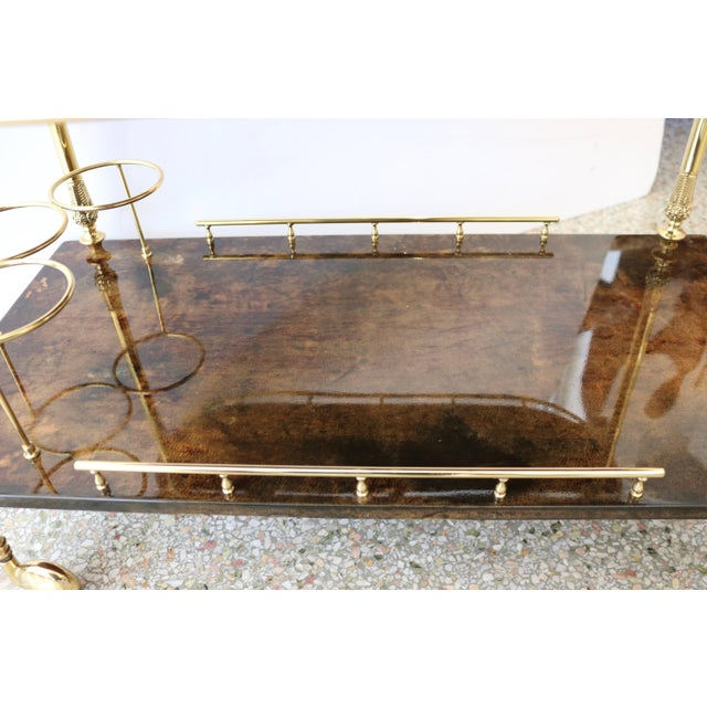 1960s Goatskin and Brass Bar Cart by Aldo Tura For Sale - Image 9 of 11