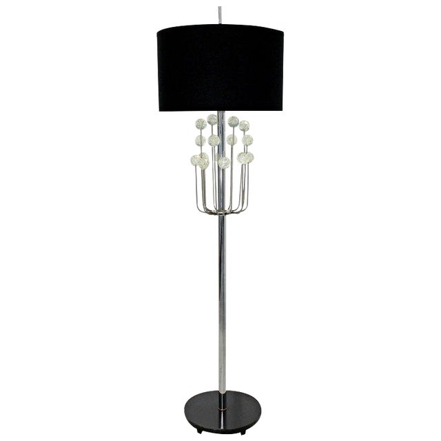 Mid-Century Modern Chrome Floor Lamp Lucite Balls by Laurel For Sale