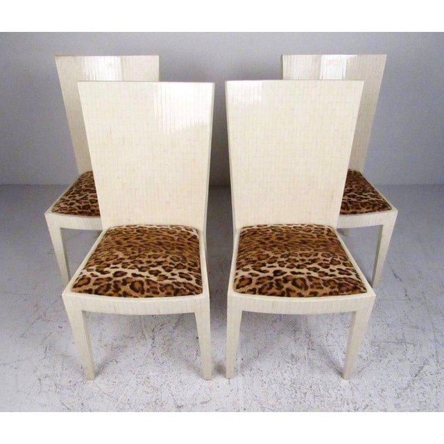 Enrique Garcel Tessellated Bone Card Table With Chairs For Sale - Image 9 of 11