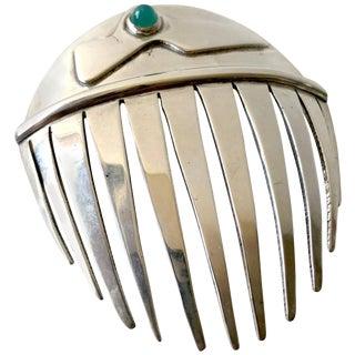 Sam Kramer Sterling Silver Chrysoprase Modernist Hair Comb For Sale