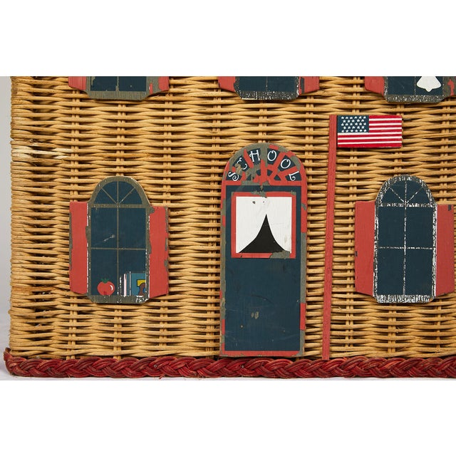 1950s Vintage Schoolhouse Toy Box of Wicker For Sale - Image 5 of 11